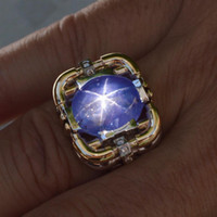 Wholesale Mens natural blue purple star sapphire diamond with heavy custom gold ring
