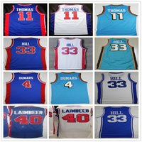 basketball grants - Cheap High Quality Throwback Joe Dumars Isiah Thomas Jersey Grant Hill Bill Laimbeer Basketball Jersey Mix Order