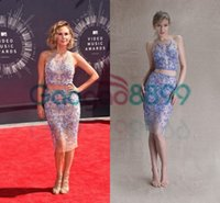 art dark knight - Keltie Knight In Paolo Sebastian Red Carpet Celebrity Dresses Lavender and Lace Two Pieces Short Cocktail Prom Party Gowns