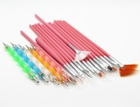 Wholesale pieces a set Nail Art Design Set Dotting Painting Drawing Polish Brush Pen Tools Nail Polish Art Brush