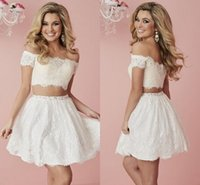 Wholesale 2017 White Ivory Two Piece Homecoming Dresses Lace Off Shoulder Mini Cocktail Party Graduation Short Prom Dresses Cheap