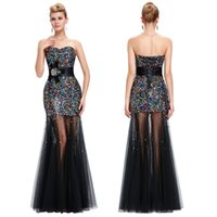 Wholesale Grace Karin Hot Mermaid Shining Beaded Transparent Tulle Party Dresses Sweetheart Colorful Sequins Evening Pageant Gowns CL6026