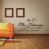 personalized custom family name love laughter removable wall decal vinyl lettering quote bedroom sitting room diy decor