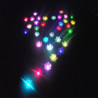 Wholesale 19cm Diameter LED Lotus lamp in Colorful Changed floating water Wishing Light Water Lanterns For Party Decoration