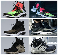 bamboo shoes - 2016 New Famous Acronym Air Presto MID White Black Hot Lava Mens Running Shoes Black Bamboo Black Trainers Prestos Sports Sneakers