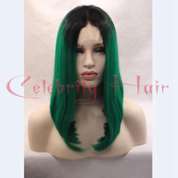 average weight - Actural short bob straight synthetic fiber middle part quot side part quot ombre black green dark roots quot weight g stock