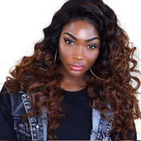 Ombre Brown Color Full Lace Wig Loose Wave Ombre Lace Front Perruques Glueless Human Hair Perruques du prix de gros de l'usine