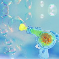 Wholesale led Shining bubble gun Outdoor toys kids soap bubble blower child toy baby toy gift water gun good package