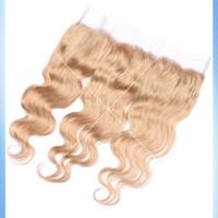 # 27 Miel Rubio Brasileño Cabello Humano 13x4 Encaje Frontales Cuerpo Onda Fresa Blonde Peruviano Pelo Completo Frontal Encaje Cierre Nudos Blanqueados