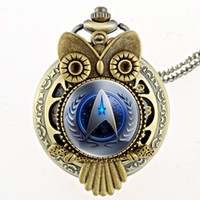 Vente en gros-Antique Bronze 11 Style Star Trek Quartz Pocket Watch Avec Collier Steampunk Hommes Fob Femme Cadeau