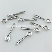 american tableware - 20725 Vintage Silver Alloy Tableware Baby Spoon Pendant Jewelry Findings