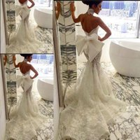 big beach - Gorgeous Full Lace Wedding Dresses Halter Big Bow Backless Bridal Dress Bohemia Chapel Train Backless Wedding Gowns Beach Style