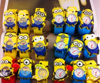achat en gros de montres silicone slap-Hot Silicone Slap Boy Girls Montre-bracelet 2 Despicable Me Kids Yellow Minion Montre Enfants 3D Cartoon montres DHL Livraison gratuite