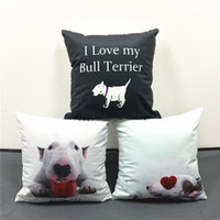 babies illustrations - Decorative Sofa Throws Pillow Cushion Cover Bull Terrier Dog Illustrations Cushions Covers Baby Boys Girls Soft Pillow Case Present