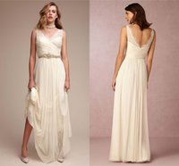 Wholesale Simple Elegant V Neck Sheath Wedding Dresses A Line Chiffon Boho Summer Beach Bridal Gowns Sexy Low Back Zipper Wedding Guest Wear Cheap
