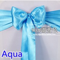 aqua chair covers - Aqua blue colour high quality satin sash chair bow for chair covers sash spandex party and wedding decoration