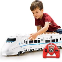 Wholesale Music RC Train Toy Electric Remote Control Rail W RC Car Model Train For Kids Gift Railway Track Train Toys without box