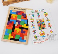 Wholesale Wooden Puzzles Toy Tangram Brain Teaser Puzzle Toys Tetris Game Educational Kid Jigsaw Board Toy For Early Education Kids