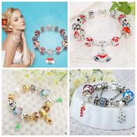 achat en gros de s charme européen-925 bracele Bracele Cadeaux Saint Valentin Flocon de neige Bracelet Bracelet Bracelets européens pour les femmes Bricolage Cadeau de Noël CCA5298 50pcs