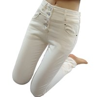 Wholesale Woman winter warm thick velvet denim pants high waist skinny long jeans women elastic white and black trousers femme W002