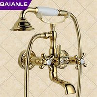 Wholesale New arrival hot sell Rain Shower Faucets with ceramic Mixer Tap Antique Brass Bath Shower Faucet Set bathtub faucet