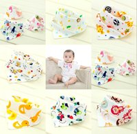 Wholesale Cute Baby Cartoon Animal Print Bibs Triangle Double Layered Cotton Baberos Infant Baby Kids Burp Cloths MC0443 Fast Shiping