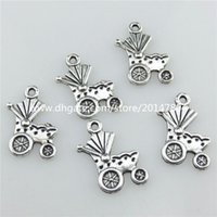 american vintage cars - 20711 Vintage Silver Alloy Baby Carriage Car Pram Pendant Jewelry Findings