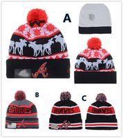 atlanta gift - NEW HOT Sport KNIT MLB Atlanta Braves Baseball Club Beanies Team Hat Winter Caps Popular Beanie Fix Cheap Gift Present Fashion