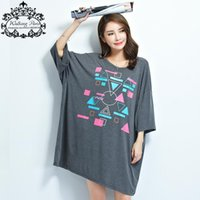 batwing sleeve dress pattern - New Summer Plus Size Women T Shirt Pattern Print Tees Batwing Sleeve Long Tshirt Dresses Large Size Casual Female Tops XL