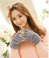Wholesale Korean winter girl half gloves Cute cartoon cat claw gloves Warm thick Plush Bear gloves