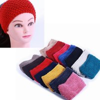Wholesale 14 Colors Fashion Women Crochet Caps Headband Knit Hairband cm Winter Solid Color Ear Warmer Head Hat Christmas Gifts PPA799
