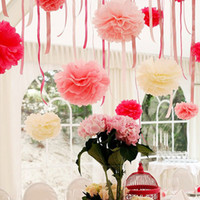 Wholesale Handmade CM Tissue Paper Pom Poms Paper Flower Ball Pompom For Home Garden Wedding Birthday Wedding Car Decoration
