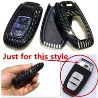 achat en gros de couvercle du clavier audi a4-Nouvelle voiture de fibre de carbone authentique Auto Key Case Cover pour Audi A4 A6 TT Q3 Q5 voiture styling