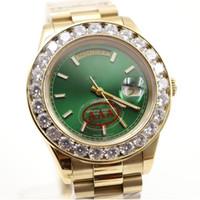 al por mayor zafiro anillo de diamantes verdes-El envío libre mira los relojes mecánicos automáticos del zafiro automático del AAA del anillo de diamante de la cara verde del oro de la Día-Fecha de lujo de los hombres de la marca de fábrica del lujo de los hombres