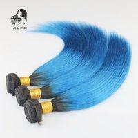 al por mayor virgen de la extensión del pelo humano ombre azul-7A Ombre Extensiones peruanas del pelo humano 3pcs / lot Pelo recto brasileño T1B / Blue de la Virgen Unprocessed Ombre Pelo humano perenne 300g