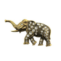 antique french china - 100pcs Fashion French Victorian Antique Gold Plated and Austrian Crystal Clear Rhinestone Elephant Brooches Pins