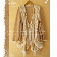 Wholesale Autumn Winter Women s Casual Lace Floral Loose Knit Patchwork Cardigan Large Japanese Mori Girl Cute Kawaii Female Sweater A009