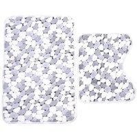 Wholesale cm Coral Velvet Polyester Washable Stone Grain Bathroom Floor Mats Bath Pedestal Non Slip Room Comfy Carpet Mat