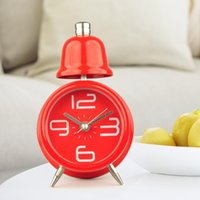 Wholesale Single bell silent electronic circular alarm clock creative gift pointer cartoon mini alarm clock