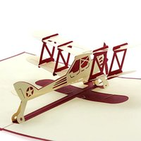 Party Favor best handmade cards - New D Pop Up Airplane Handmade Best Wish Greeting Card Kirigami Kids Gift