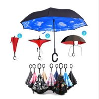 Wholesale Handy C Hook Hands Car Umbrella Windproof Reverse Folding Double Layer Inverted Umbrella Self Stand Inside Out Rain Protection b572