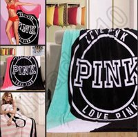 Wholesale Pink Letter Blankets Sofa Air Condition Blankets Coral Fleece Blanket Catwalk Dimensional Beadding Christmas Gifts OOA795