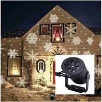 Wholesale Christmas snowflake Lamps LED Laser Projector Stage Light outdoor Xmas Party Garden ornament newyear Landscape Lighting white