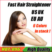 Wholesale Beautiful HQT Fast Hair Straightener Brush Dryer Straightening Irons Hair Styling Tool Comb Flat With LCD Electronic Temperature Control