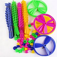 Wholesale Colorful Plastic Long Bamboo Dragonfly Classic Children Flying Disk and Arrows Outdoor Toy Mix Color