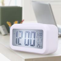 Wholesale Time Date Alarm Clock Temperature Display LED Alarm Light activated Sense Snooze Function Calendar Digital Clock Desktop Electronic Clock