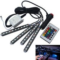 Wholesale Car RGB LED Strip Lights Colors Car Styling Decorative Atmosphere Lamps Car Interior Light With Remote control DC12V