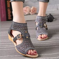 Low Heel beige leather sandals - Women s shoes high to help fish mouth hollow sandals female zipper slope with diamond diamond shoes