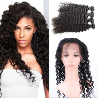 Wholesale Mongolian A Hair Lace Frontal with Bundles Deep Wave Bundles with Frontal Curly Human Hair