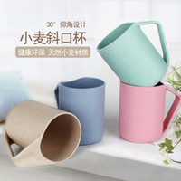 Wholesale Lovely Kitchen ML Eco Creative Wheat Straw Cup Washing Gargle Mug Water Mug With Handgrip Plastic Tea Coffee Cups M22